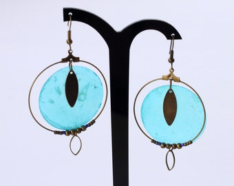 Creole earrings Pearly blue