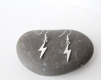 Lightning silver tone Earrings/ David Bowie jewellery/ Wizard Earrings/  lightning bolts