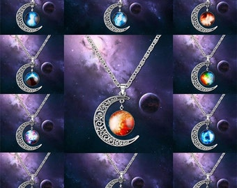 Pendant style necklaces with bright vibrant colors to choose from.
