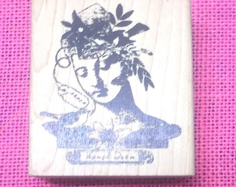 Character Constructions House wren C-004 collage rubber stamp card making stamping mixed media mail art stamps flowers face peace tag crafts