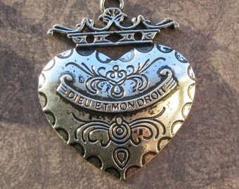 Antique Silver Heart and Crown Big Metal Pendant 60x50mm