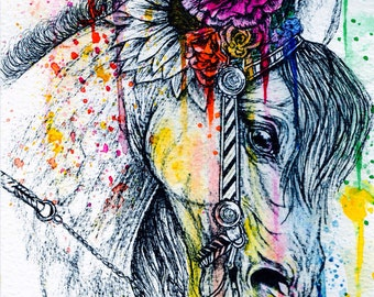 Watercolour 'Horse wearing a Headdress' Signed Print.