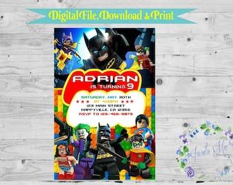 Lego Batman Birthday Invitation, Digital File, DIY Printing, Joker, Robin, Superman