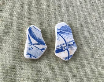2 Blue And White Pictorial Scottish Sea Pottery Pieces From Scotland - For Crafts, Jewellery Making, Or Display