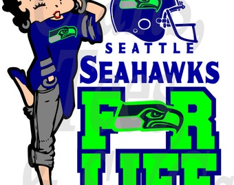 Seahawks for Life Betty Boop  SVG FIle