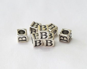Sterling Silver, Alphabet, Letter, LETTER B, Bead, Clearance, Sale, Jewelry, Beading, Supply, Supplies