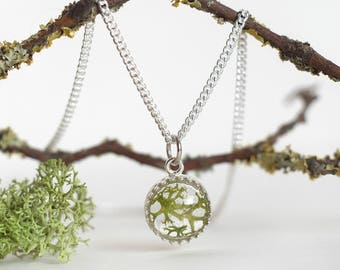Silver Green Forest necklace moss lichen terrarium dried flowers rustic eco jewelry gift for her epoxy resin wild boho free spirit enchanted