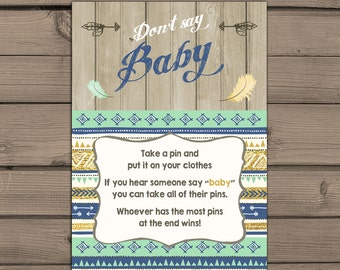 Dont say baby game cards Instant download Tribal Baby Shower game cards Blue Navy Gold mint Wood Rustic Baby Shower Digital PRINTABLE DIY
