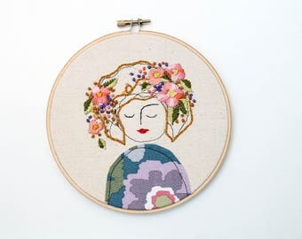 Embroidery Hoop Art, Illustration of a Lady with Flowers in her Hair