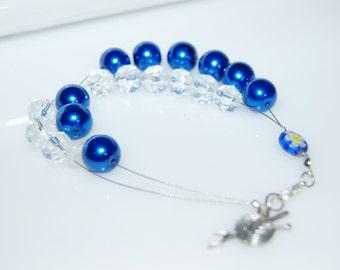 Row counter bracelet knitting tools crochet tools blue wax glass millefiori glass