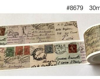 Vintage Postcards Washi Tape --Masking Washi Tape--Deco tape--30mm x5M