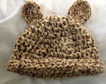 Crochet Acrylic Hat Fleece Bear Ears Ladies Teens Ski Outdoor Activities Cap Soft