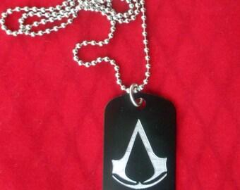 Assassins Creed Dog Tag !!, Black, Engraved!