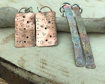 Copper rustic earrings. Long copper earrings. Patina copper. Hammered. Love heart. Handmade. Rough cut. Organic Recycled copper.
