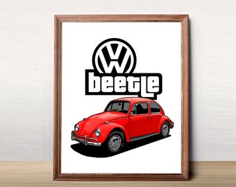 """VW Beetle Decor, Volkswagen Beetle, Classic Beetle, Printable Garage Art, Beetle, Instant download, VW Beetle Art, VW Beetle Decor, 8x10"""""""