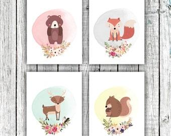 Nursery Art Printables, Woodland Nursery, Animals, Floral Wreathes, Pastels, Set of 4 JPEG 8x10s #611