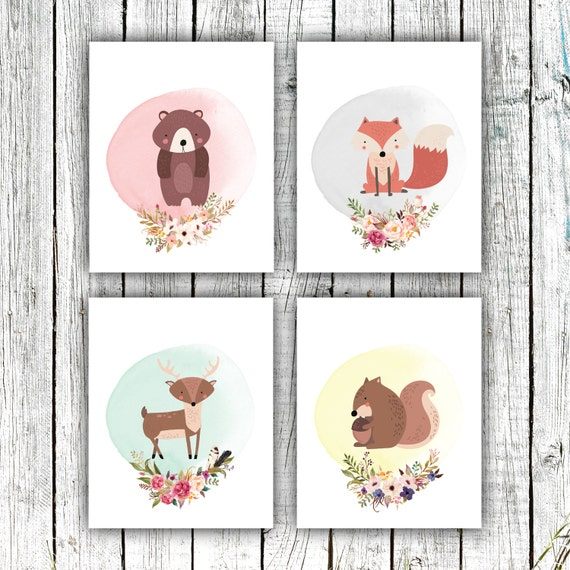 Nursery Art Printables, Woodland Nursery, Animals, Floral Wreathes, Pastels, Set of 4 JPEG 8x10s #611