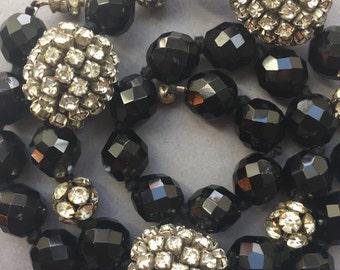 1940's Black Faceted Glass Beads Necklace & Large Diamante Beads