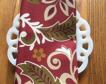 Rust Red Floral Cloth Napkin