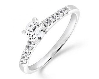 0.70ct Diamond Solitaire Shoulder Set Engagement Ring