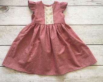 Girls Linen Dress, Red Linen Dress, Vintage Style Baby Dress, Linen Lace,