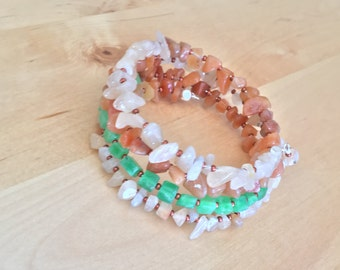 Gemstone CHIP BRACELET wrap bangle memory wire bracelet orange agate green malay jade chip jewelry copper seed bead