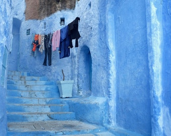 Morocco Photography, Chefchaouen, Blue City Morocco, Africa Photography, Large Wall Art, Living Room Art, Laundry Room Decor