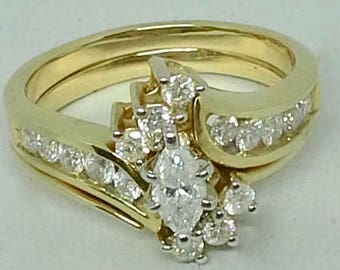 Vintage 14K yellow gold and diamonds stacked rings wedding ring