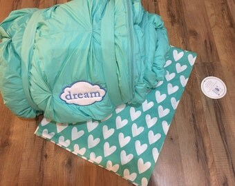 Personalized kids sleeping bag, monogram nap mat, PB teen sleeping bag, sleeping bag w/pillow, great for sleepovers, thick, quality sleeper