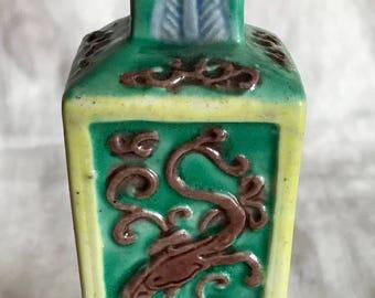 Chinese Turquoise Famille Rose Porcelain Square Vase