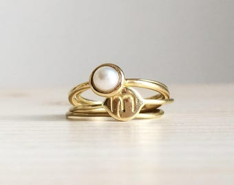 Anello con piccola perla + Set di anelli sottilissimi in oro giallo lucido 18k - RINGS KIT