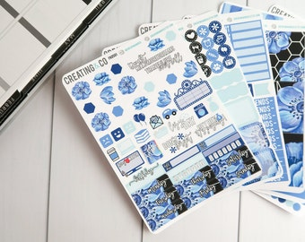 Neutral Blue Floral Weekly Planner Kit for No-White Space and White Space Planners - FK05