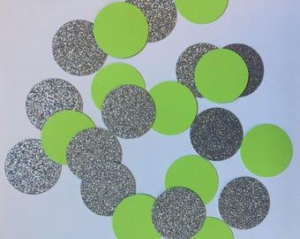 Birthday confetti - kate spade confetti - green and silver confetti -30th birthday - 21st birthday - graduation confetti - first birthday
