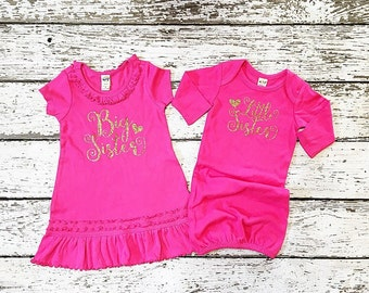 Big Sister Little Sister set coming home outfit, birth announce, newborn outfit.