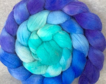 Hand Dyed Merino Wool Top - Bluebells