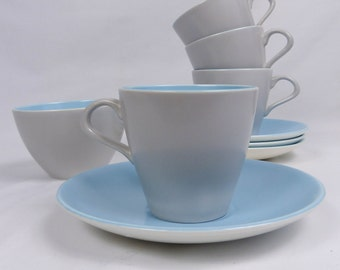 60s Poole Twintone Dove Grey and Sky Blue Set of 4 tea cups and saucers plus sugar bowl  Ex Cond
