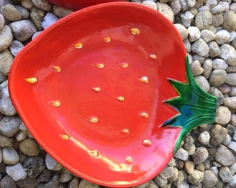 Vintage Strawberry Dishes-Strawberry Serving Dishes-Set of Two-Japanese Hand Crafted-Red Strawberries-Green Leaf Handles-Serv Well-Ceramics