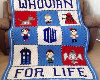 Handmade 'Whovian For Life' Dr Who Character Crochet Blanket