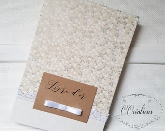 Wedding Guestbook {Romance} White and flowery gray, kraft and strip label
