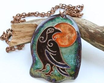 Raven necklace, raven pendant, black raven, crow necklace, crow pendant