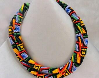 Bead Set Premade DIY Necklace Rainbow Czech beads Pattern + Material + Hook + Endings + Thread
