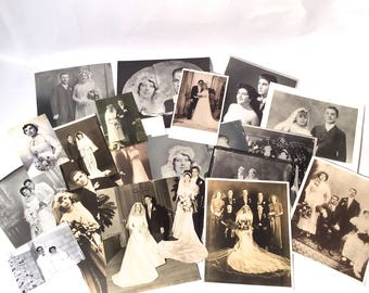 Vintage Lot of 19 Antique 1920s-1950s Wedding Photographs (8 x 10) (4 x 6) (Custom) New York, Lot 1