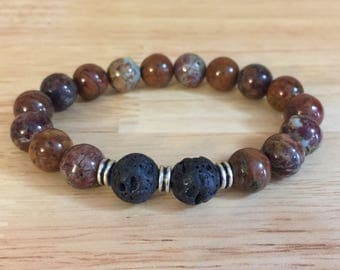 Rainbow Agate and Lava Stone Bracelet