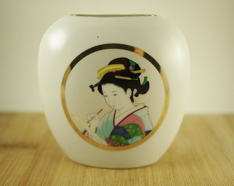 Vintage Geisha Porcelain Vase Made in Japan