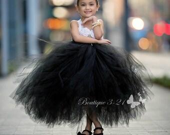 Black Flower Girl Dress, Black Tutu Dress, Black Tulle Dress, Black Dress, Black Wedding, Black