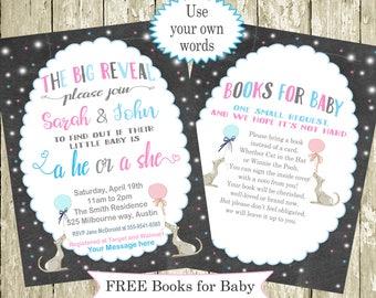 Gender Reveal Invitation Printable Custom Words, colors Pink, blue Chalkboard Gender Reveal Party Free Books for Baby Gender reveal Ideas