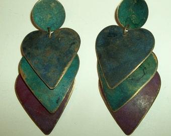 Vintage 90's Ethnic Dangling Triple Layered HEART post earrings.
