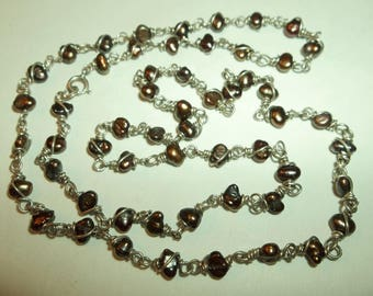 Delicate 925 silver chain with floating Brown Fresh water pearls