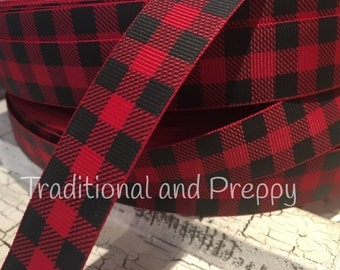 "3 yards 7/8"" Red and Black Buffalo Plaid outdoor themed grosgrain ribbon"
