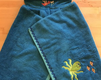 Under the Sea Hooded Baby Bath Towel - Infant Bath Towel - Ocean Themed Hooded Towel - Infant Toddler Hooded Bath Towel -